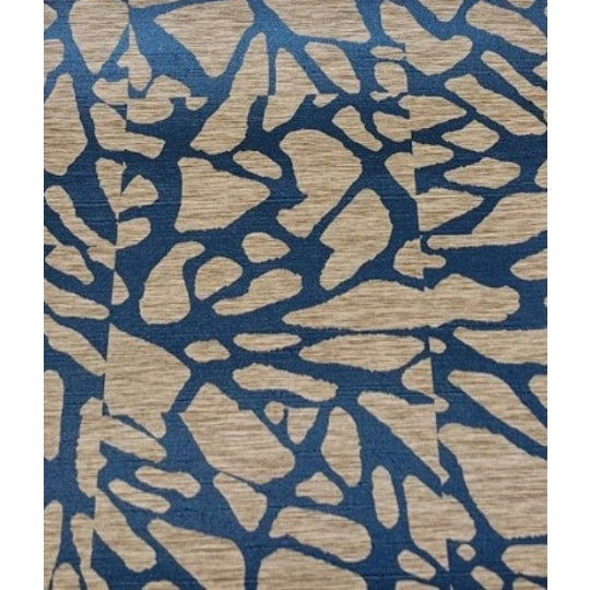 Blue and Beige Organic Mosaic Pattern Wallcovering For Sale