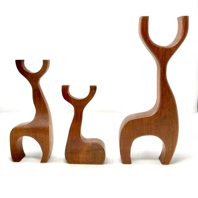 1960s Vintage Danish Modern Teak Reindeer Figurines - Set of 3 For Sale - Image 13 of 13