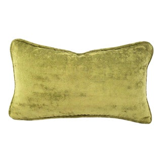 """11"""" X 20"""" Kravet Couture Plush in Celery With Self-Welt Lumbar Pillow Cover - Solid Light Moss Green With Self-Piping Rectangle Cushion Case For Sale"""