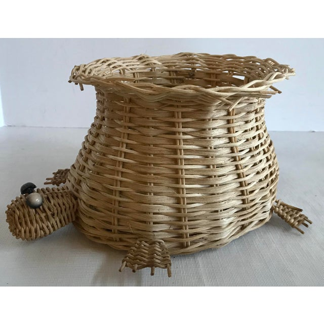 Boho Chic Vintage Wicker Turtle Planter Basket For Sale - Image 3 of 8