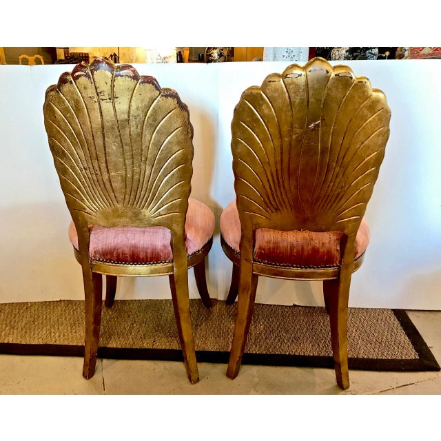 Pair Gold Leafed Shell-Form Side Chairs For Sale In Los Angeles - Image 6 of 8