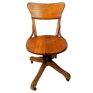 1900s Vintage Circular Oak Office Chair