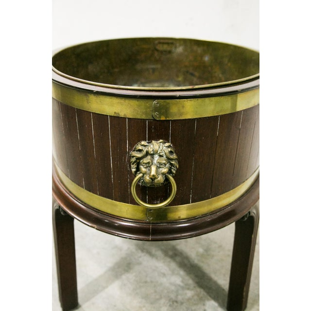 Metal English George III Style Brass Bound Wine Cooler For Sale - Image 7 of 12