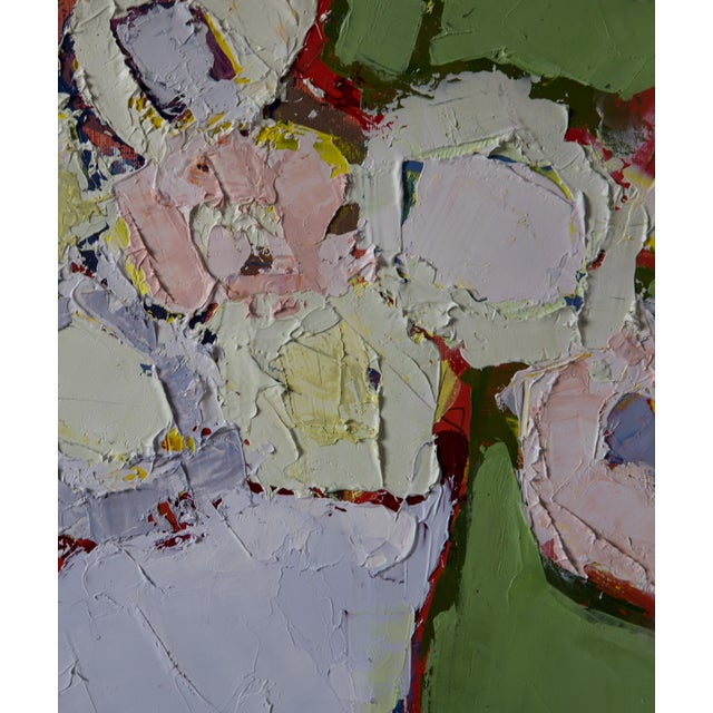 """Abstract Bill Tansey """"Mint Wall"""" Abstract Floral Painting Oil on Canvas For Sale - Image 3 of 4"""