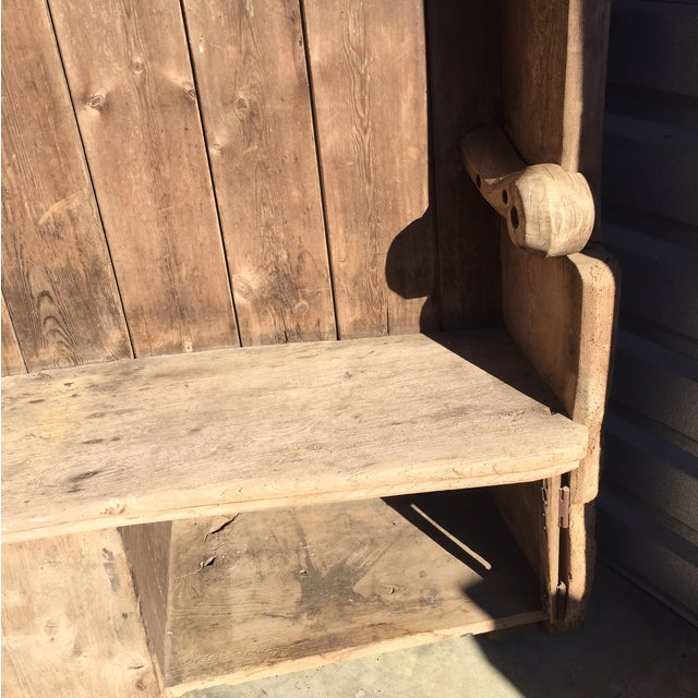18th Century English Pine Curved Settle Bench - Image 8 of 11