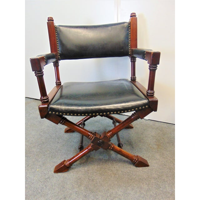 Mid 20th Century Hollywood Regency Leather X Base Fruitwood Director Chair For Sale - Image 5 of 7