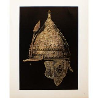 "Rare ""16th Century Parade Helmet"", Original 1940s Gold-Foiled Swiss Photogravure For Sale"