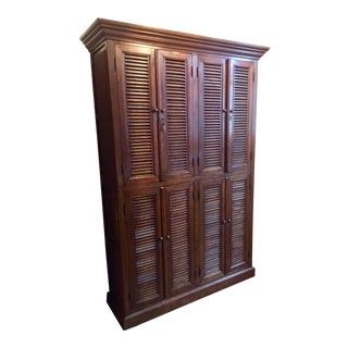 19th Century French Country Louvered Oak Linen Press Cabinet For Sale