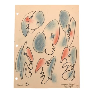 "James Bone ""Anonymous, All, and Wonderful"" Mask Study Drawing For Sale"
