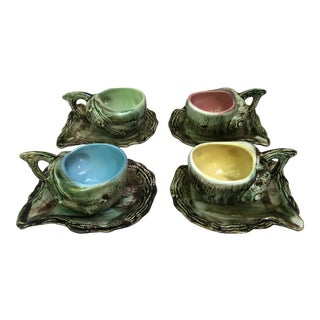 C. 1950 Majolica Shell Cups & Saucers- 8 Pieces For Sale