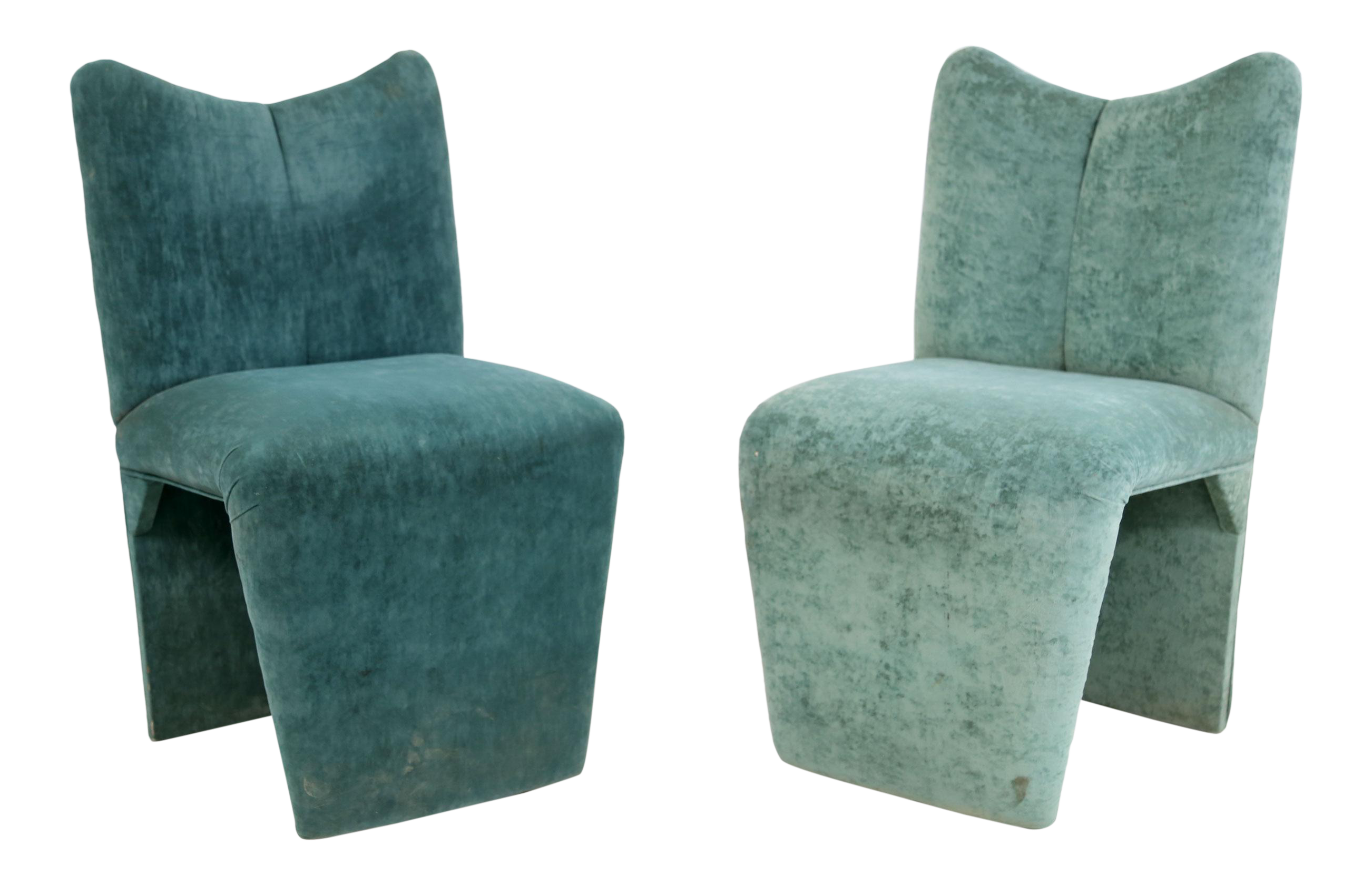 Postmodern Memphis Style Upholstered Chairs Turquoise Green, 1990s   A Pair