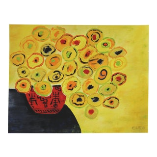 Yellow Flowers Still Life Painting by Cleo Plowden For Sale