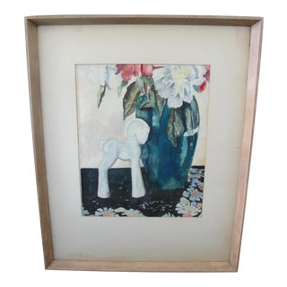Vintage 1950s Still Life Watercolor Painting