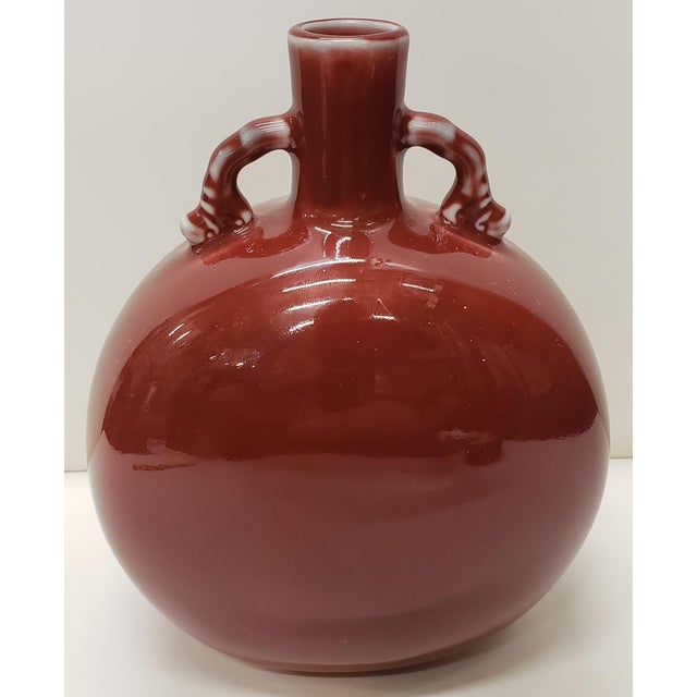Ceramic Vintage Circa 1970 Chinese Style Ox Blood Porcelain Moon Flask Vase Made for Gump's in Japan For Sale - Image 7 of 7