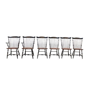Antique Hitchcock Primitive Dining Chairs - Set of 6