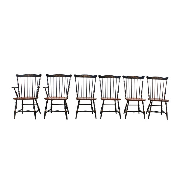 Antique Hitchcock Primitive Dining Chairs - Set of 6 For Sale