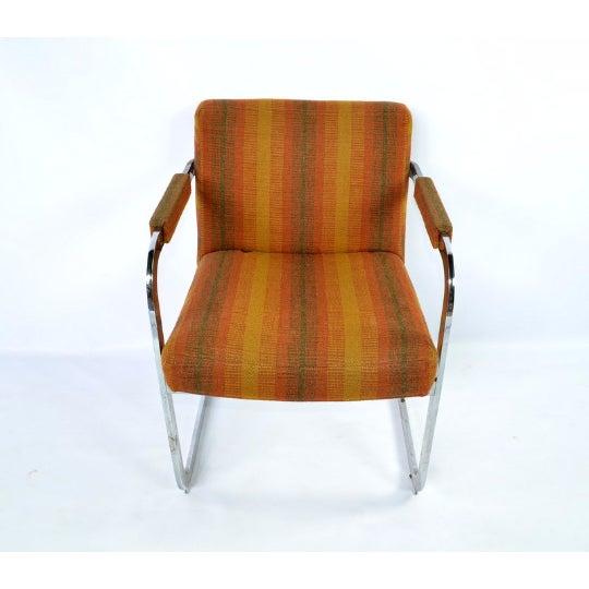 Milo Baughman Thayer Coggins Chrome Armchairs- Set of 5 - Image 3 of 5