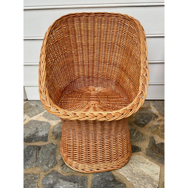 1960s Vintage Boho Chic Wicker Scoop Chairs - a Pair For Sale - Image 5 of 10