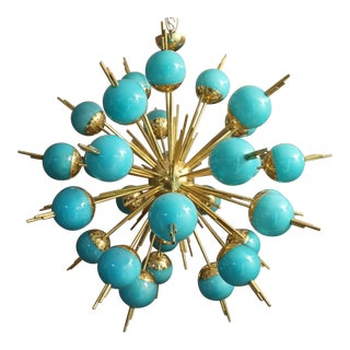 Blue Glass Globes and Brass Sputnik Chandelier For Sale