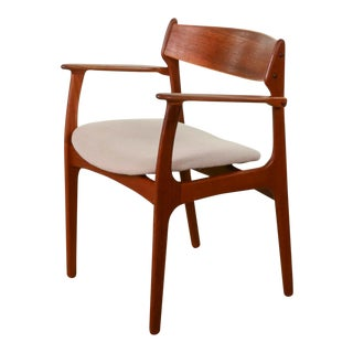 Mid-Century Modern Danish Design Teakwood Desk Arm Side Chair by Erik Buch for Oddense, 1950s For Sale