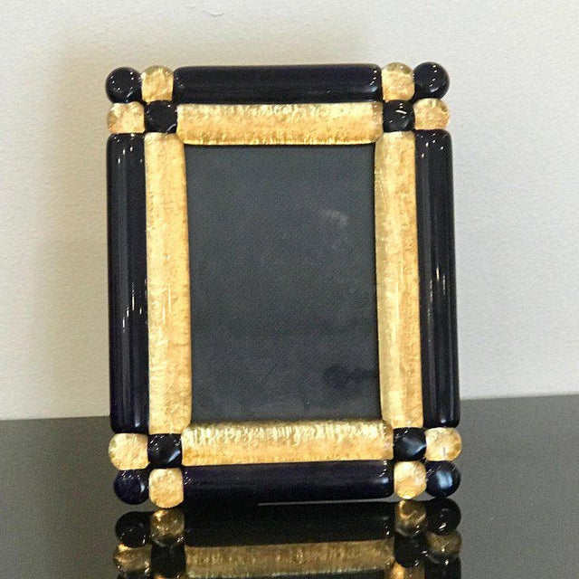"""Cobalt and gold infused Murano glass picture frame, holds a 3.5"""" x 5"""" photograph."""