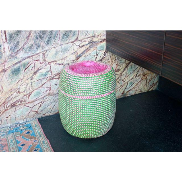 Boho Chic Hand-Woven Tenate Oaxacan Basket in Green and Hot Pink For Sale - Image 3 of 5