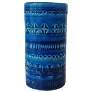Italian Aldo Londi for Bitossi Ceramic Blue Vase