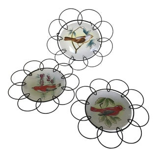 1940s Framed Hand Painted Birds on Porcelain Plates in Floral Pattern Wire Frame - Set of 3 For Sale