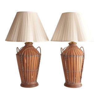 Woven Basket Table Lamps, a Pair For Sale