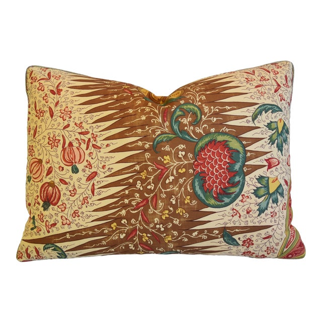 """French Pierre Frey La Riviere Feather/Down Pillow 22"""" X 16"""" For Sale"""