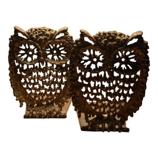 Fabulous Mid Century Modern Brass Owl Bookends 5 Inches (2) For Sale