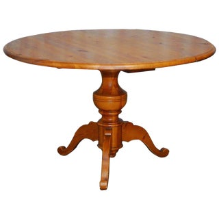 English Country Round Pine Pedestal Dining Table For Sale