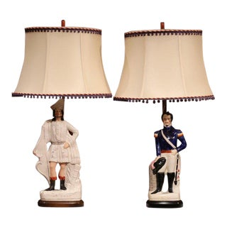 Pair of 19th Century English Staffordshire Ceramic Figures Made Into Table Lamps For Sale