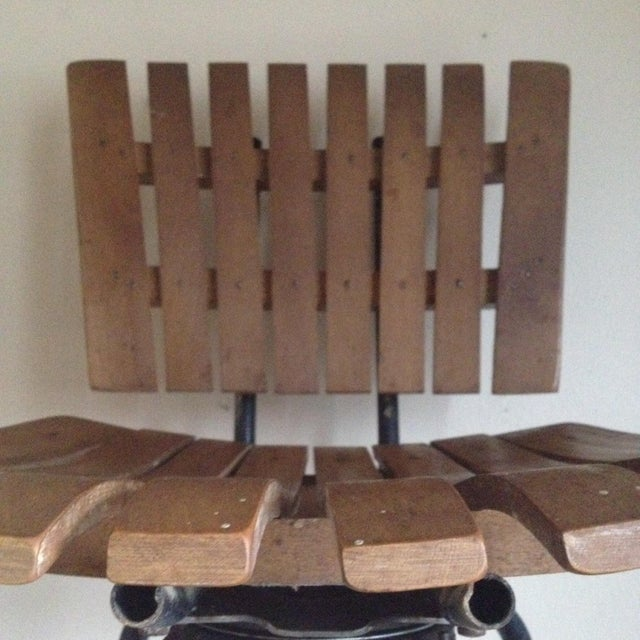 Mid Century Umanoff Style Wooden Slat Stool - Image 7 of 10