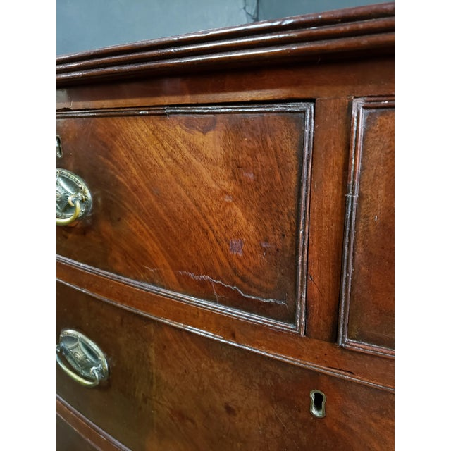Wood Georgian English Mahogany 2 Over 3 Bow Front Chest on Bracket Feet For Sale - Image 7 of 13