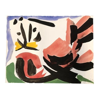 "Vintage Original Robert Cooke Abstract 1970's Painting ""Masked Fowl"" For Sale"