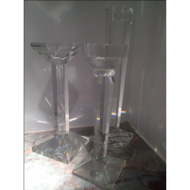 Oleg Cassini Crystal Candle Holders Set Of 3 Chairish