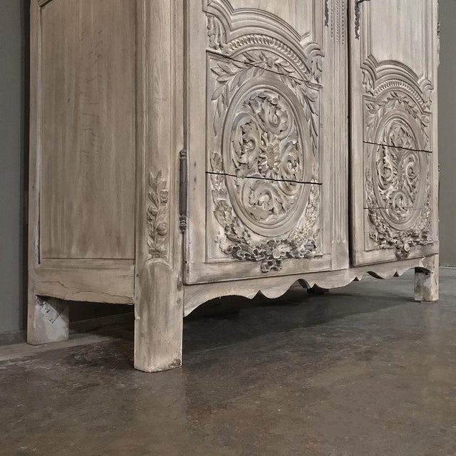 18th Century Country French Louis XVI Period Whitewashed Armoire For Sale - Image 11 of 12