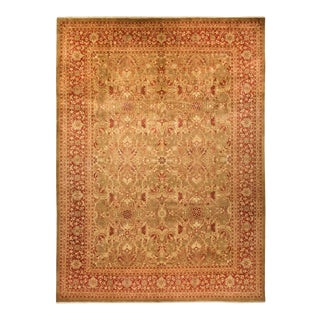 """Eclectic, One-Of-A-Kind Hand-Knotted Area Rug - Gold, 10' 1"""" X 13' 7"""" For Sale"""
