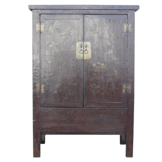 Red & Gilt Chinoserie Armoire For Sale