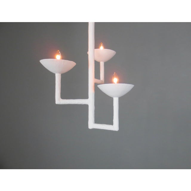3 Cup Plaster Chandelier With White Finish For Sale In New York - Image 6 of 9