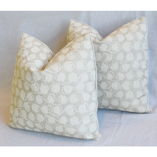 """Tan Italian Embroidered Silk & Leather Feather/Down Pillows 21"""" Square - Pair For Sale - Image 8 of 13"""