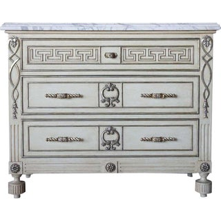 Ebanista Hollywood Regency Villa Lorenzo Painted Marble Top Chest For Sale