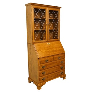 Ethan Allen Heirloom Nutmeg Maple Secretary & Bookcase Hutch For Sale