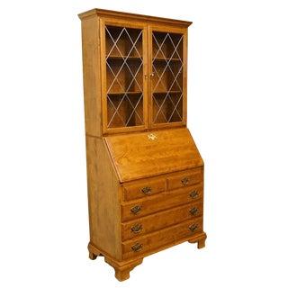 Ethan Allen Heirloom Nutmeg Maple Secretary & Bookcase Hutch For Sale