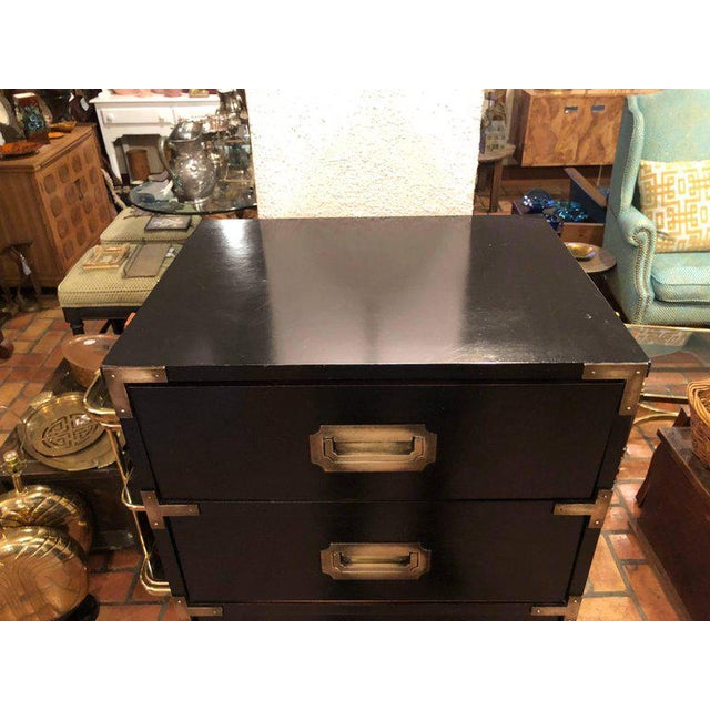 Black Campaign Brass Accent Highboy Chest For Sale - Image 4 of 11