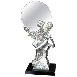 Art Nouveau Figural Silver Clad Table Mirror For Sale