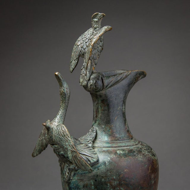 Bronze Ewer With Bird Finial and Handle For Sale In Los Angeles - Image 6 of 9