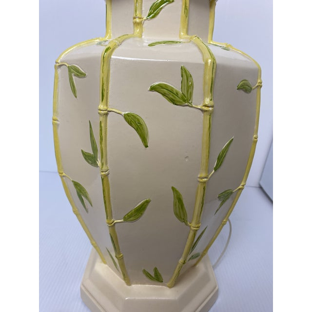 1960s Vintage 1960s Faux Bamboo Yellow Table Lamps - a Pair For Sale - Image 5 of 8