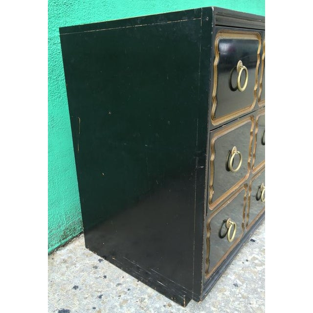 Iconic Dorothy Draper Chest for Heritage Classic black lacquer frame and drawers with gold detailing All original...
